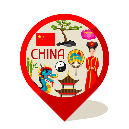 chinese fan: China marker design. Chinese symbols and objects.