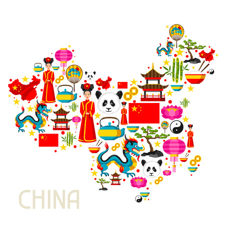 China kaart ontwerp. Chinese symbolen en objecten.