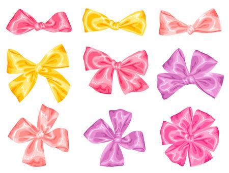 bow ribbon: Set of decorative delicate satin gift bows and ribbons. Illustration