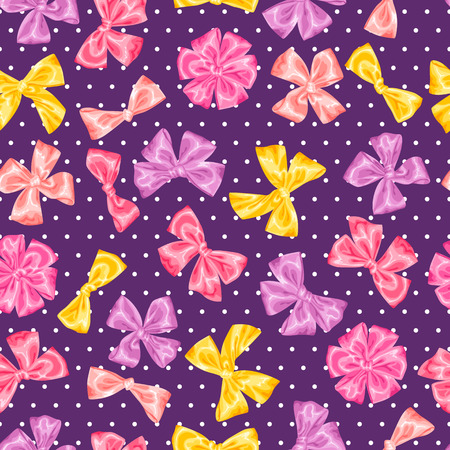 gift pattern: Seamless pattern with decorative delicate satin gift bows and ribbons. Illustration