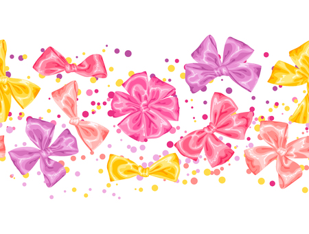 shop tender: Seamless pattern with decorative delicate satin gift bows and ribbons. Illustration