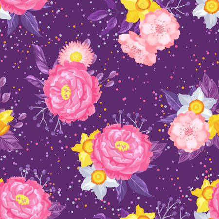 decorative wallpaper: Seamless pattern with decorative delicate flowers. Easy to use for backdrop, textile, wrapping paper, wallpaper. Illustration