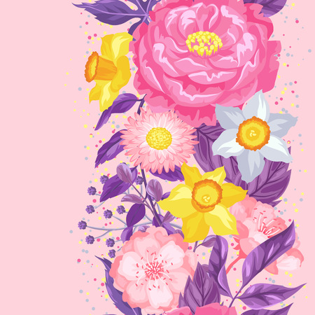 Seamless pattern with decorative delicate flowers. Easy to use for backdrop, textile, wrapping paper, wallpaper. Illustration