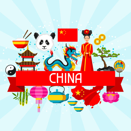 design objects: China background design. Chinese symbols and objects. Illustration