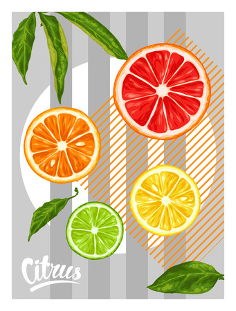 flayer: Poster with citrus fruits slices. Mix of lemon lime grapefruit and orange.
