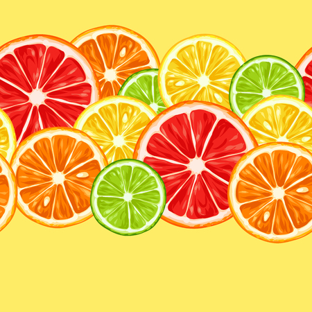 lime: Seamless pattern with citrus fruits slices. Mix of lemon lime grapefruit and orange.