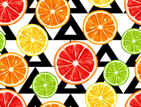 mix: Seamless pattern with citrus fruits slices. Mix of lemon lime grapefruit and orange.