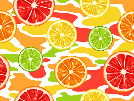 wrappers: Seamless pattern with citrus fruits slices. Mix of lemon lime grapefruit and orange.