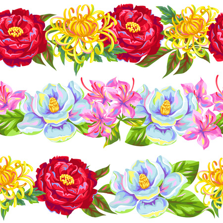 azalea: Seamless pattern with China flowers. Bright buds of magnolia, peony, rhododendron and chrysanthemum. Illustration