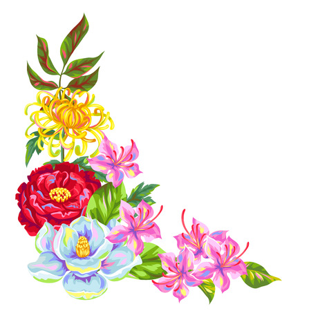 tropical plants: Decorative element with China flowers. Bright buds of magnolia, peony, rhododendron and chrysanthemum. Illustration
