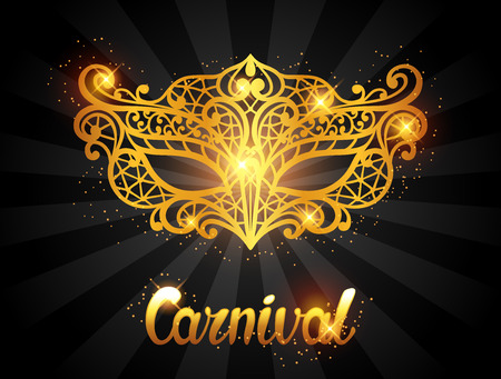 Carnival invitation card with golden lace mask. Celebration party background. Vectores