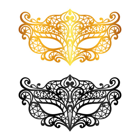 Set of lace carnival venetian masks on white background. Illusztráció