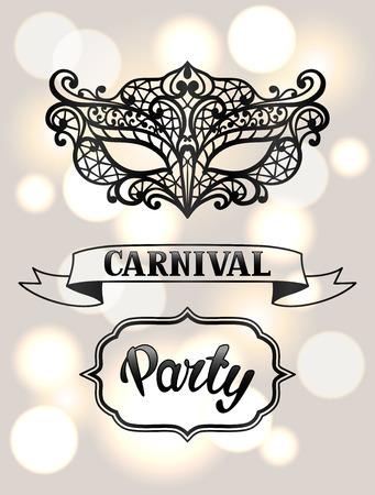 Carnival invitation card with black lace mask. Celebration party background.