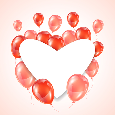red shape: Greeting card with pink and red glossy balloons. Frame shape of heart.