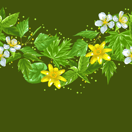 spring bud: Spring green leaves and flowers. Seamless border with plants, twig, bud.