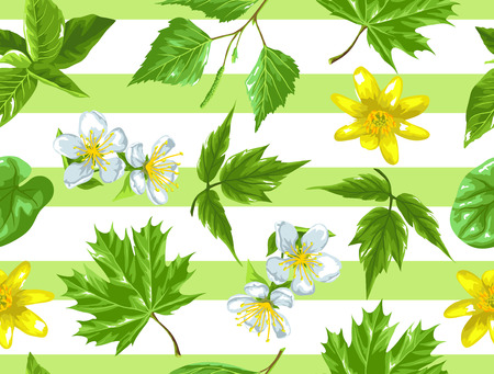 Spring green leaves and flowers. Seamless pattern with plants, twig, bud.