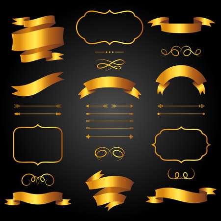 golden ribbons: Set of golden arrows, ribbons and labels in retro style.