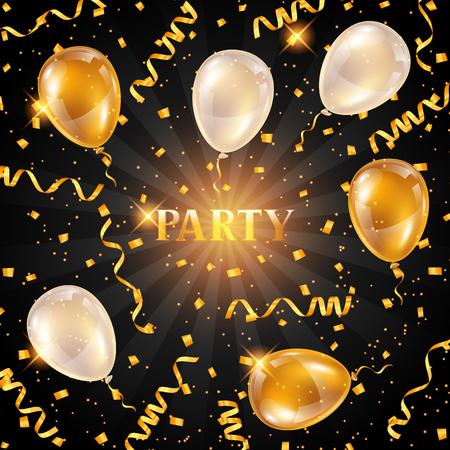 Fondo del partido de fiesta con globos y serpentinas doradas. Saludo, tarjeta de invitación o volante.