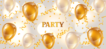 celebration: Celebration party banner with golden balloons and serpentine. Greeting, invitation card or flyer. Illustration
