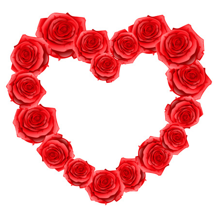 14th: Heart frame of red realistic roses. Happy Valentine day greeting card.
