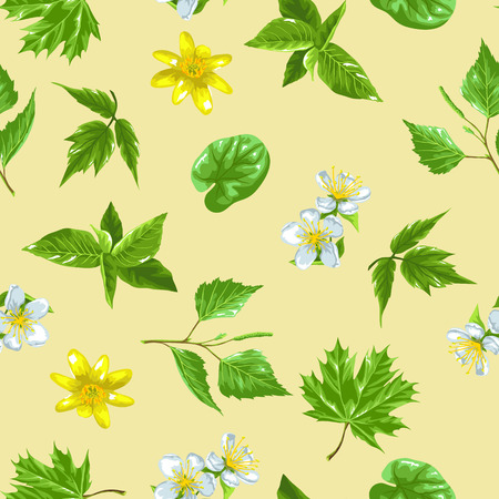 spring bud: Spring green leaves and flowers. Seamless pattern with plants, twig, bud