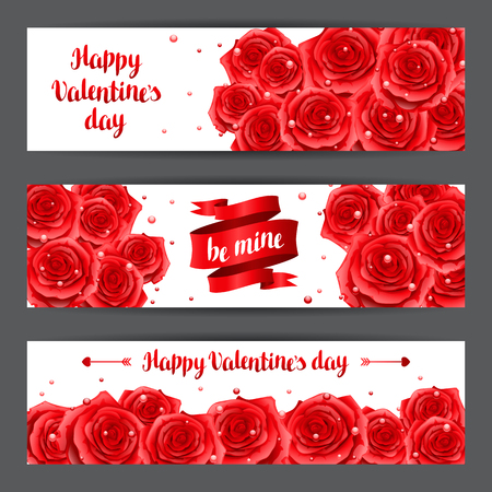14th: Happy Valentine day banners with red realistic roses
