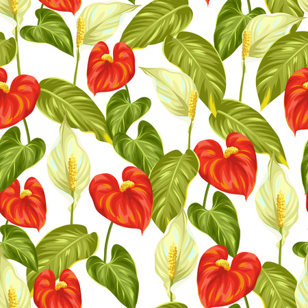 Seamless pattern with flowers spathiphyllum and anthurium