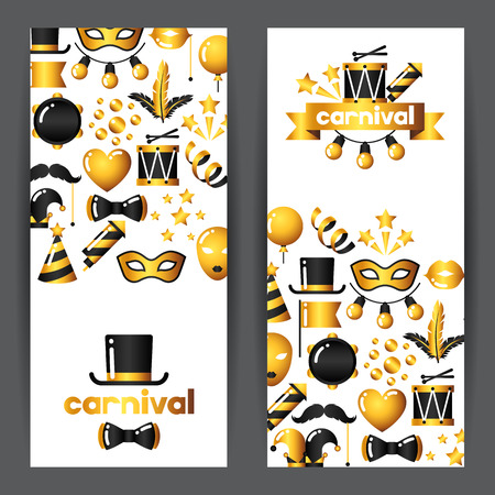 theater background: Carnival banners with gold icons and objects. Celebration party backgrounds