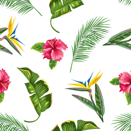 tropical flowers: Seamless pattern with tropical leaves and flowers. Palms branches, bird of paradise flower, hibiscus Illustration