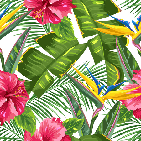 strelitzia: Seamless pattern with tropical leaves and flowers. Palms branches, bird of paradise flower, hibiscus Illustration