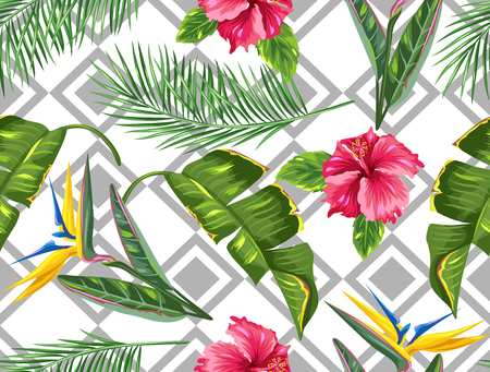 Seamless pattern with tropical leaves and flowers. Palms branches, bird of paradise flower, hibiscus Illustration