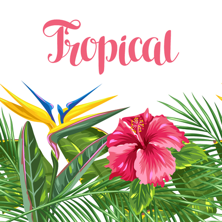 Seamless border with tropical leaves and flowers. Palms branches, bird of paradise flower, hibiscus Illustration