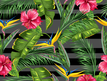 exotic fruit: Seamless pattern with tropical leaves and flowers. Palms branches, bird of paradise flower, hibiscus Illustration