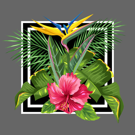 bloom bird of paradise: Background with tropical leaves and flowers. Palms branches, bird of paradise flower, hibiscus