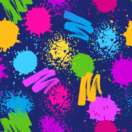 Colorful seamless pattern. Grunge background with paint splashes, blotches, spots and drops Illustration