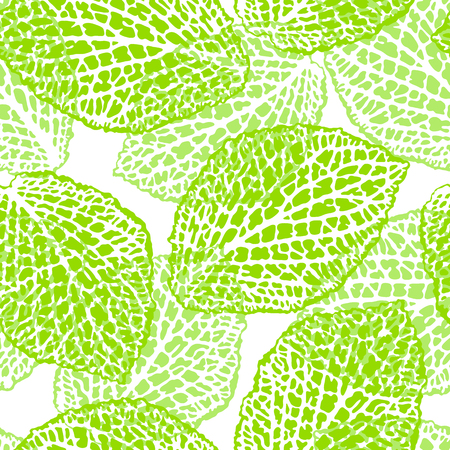 Seamless pattern with decorative leaves. Natural detailed illustration. Illustration