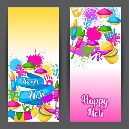 paint spray gun: Happy Holi colorful banners. Illustration of buckets with paint, water guns, flags, blots and stains