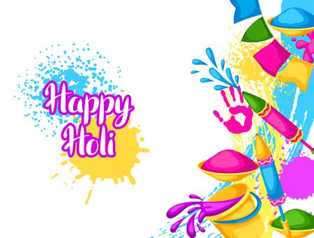 Happy Holi kleurrijke achtergrond. Illustratie van emmers met verf, waterpistolen, vlaggen, vlekken en vlekken