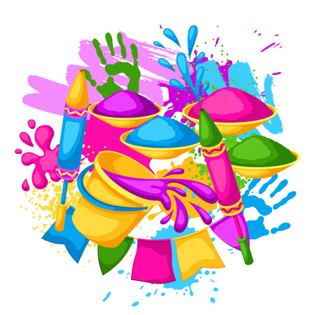 Happy Holi colorful background. Illustration of buckets with paint, water guns, flags, blots and stains Illustration