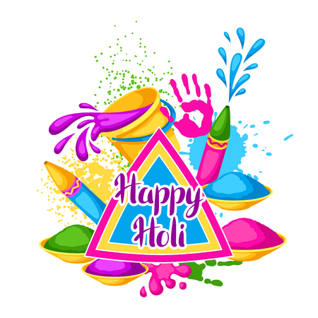 paint spray gun: Happy Holi colorful background. Illustration of buckets with paint, water guns, flags, blots and stains Illustration