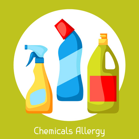 disinfect: Chemicals allergy. Vector illustration for medical websites advertising medications