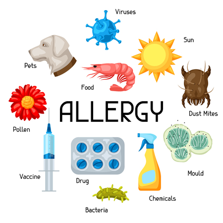 Allergy. Background with allergens and symbols. Vector illustration for medical websites advertising medications Vettoriali