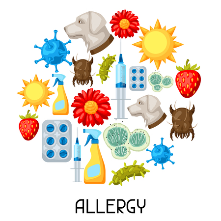 Allergy. Background with allergens and symbols. Vector illustration for medical websites advertising medications Ilustração