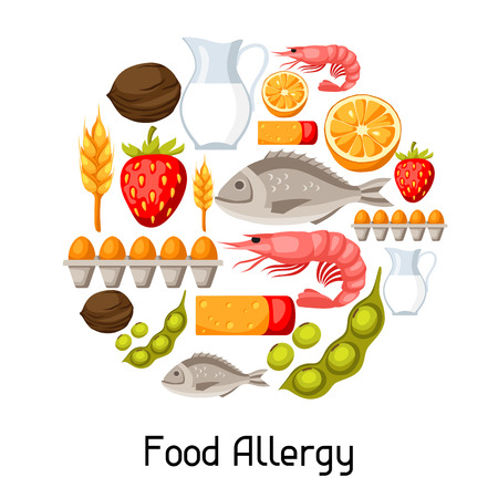 Food allergy background with allergens and symbols.
