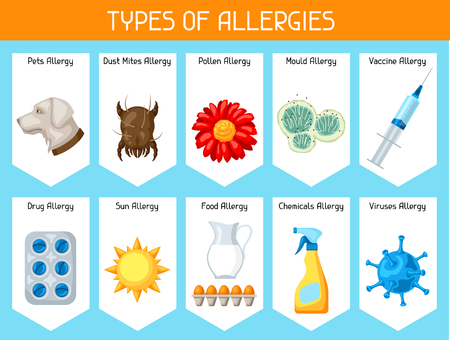 mould: Types of allergies. Background with allergens and symbols. Vector illustration for medical websites advertising medications