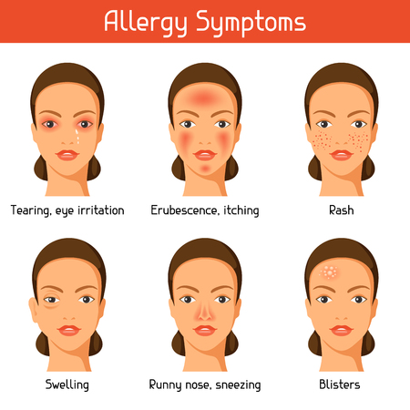 rhinitis: Allergy symptoms. Vector illustration for medical websites advertising medications