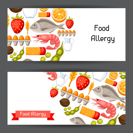Food allergy banners with allergens and symbols. Vector illustration for medical websites advertising medications
