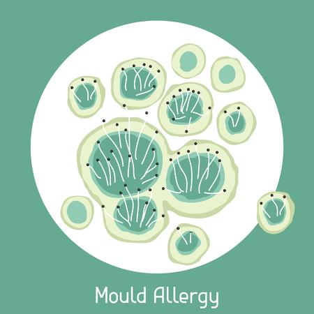 Mould allergy. Vector illustration for medical websites advertising medications