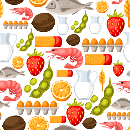 Food allergy   pattern with allergens and symbols. Vector illustration for medical websites advertising medications