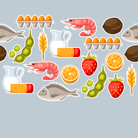Food allergy  pattern with allergens and symbols. Vector illustration for medical websites advertising medications Illustration